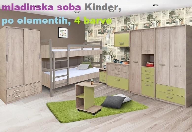 mladinska soba kinder po elementih v štirih barvnih konbinacijah.